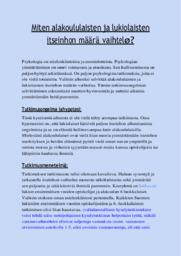 Lukiolaiset, alakoululaiset & itseinho | Tutkimus | Arvosana 9