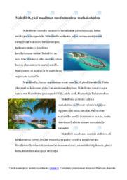 Malediivit matkakohteena   Esitelmä   Arvosana 9